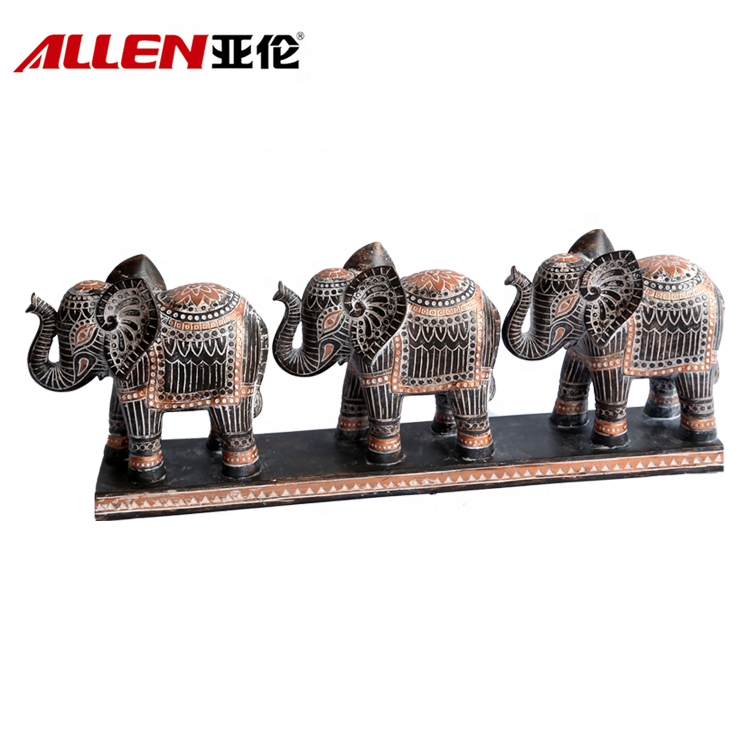 New Arrival Africa Style Three Paralleling Polyresin Elephant Statue
