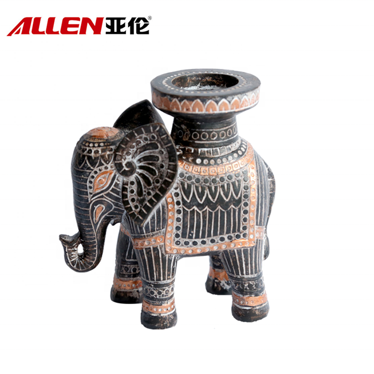 African Style Resin Elephant Tealight Candle Holder