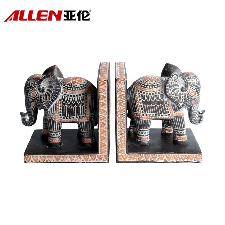 Resin Elephant Statue Bookends In African Pattern