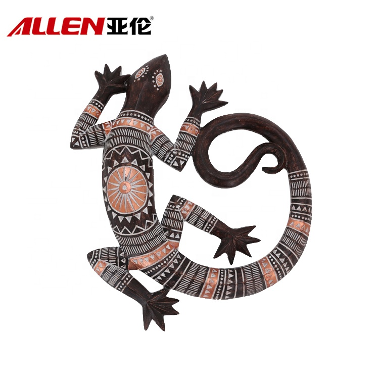 Handmade Wall Art Decor Resin Gecko With African Pattern