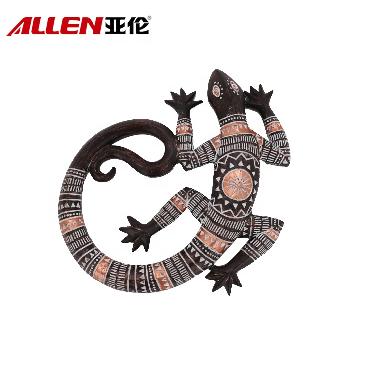 Resin Gecko Wall Art Decor With Arfican Pattern