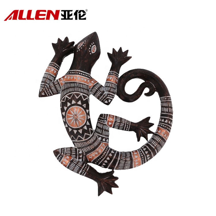 Polyresin Wall Decor Gecko With African Pattern