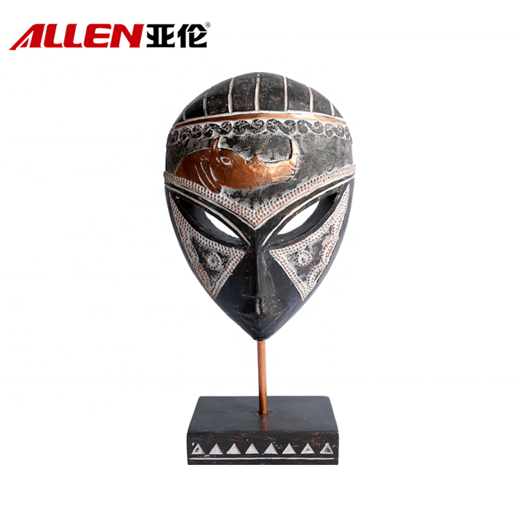 Polyresin Tribal Animal Face Mask With Stand