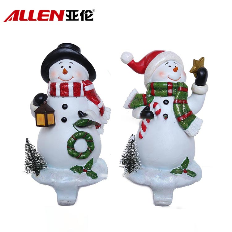 Cute Resin Christmas Snowman Stocking Holder