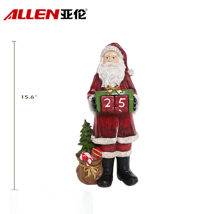 Christmas Decoration Resin Santa With Christmas Tree