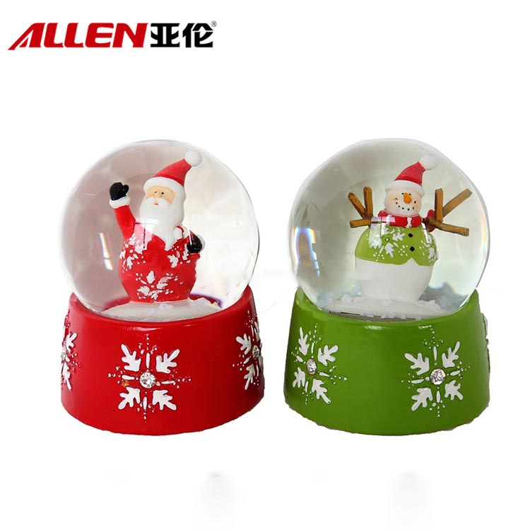 Resin Santa And Snowman Figurine Design Christmas Waterball