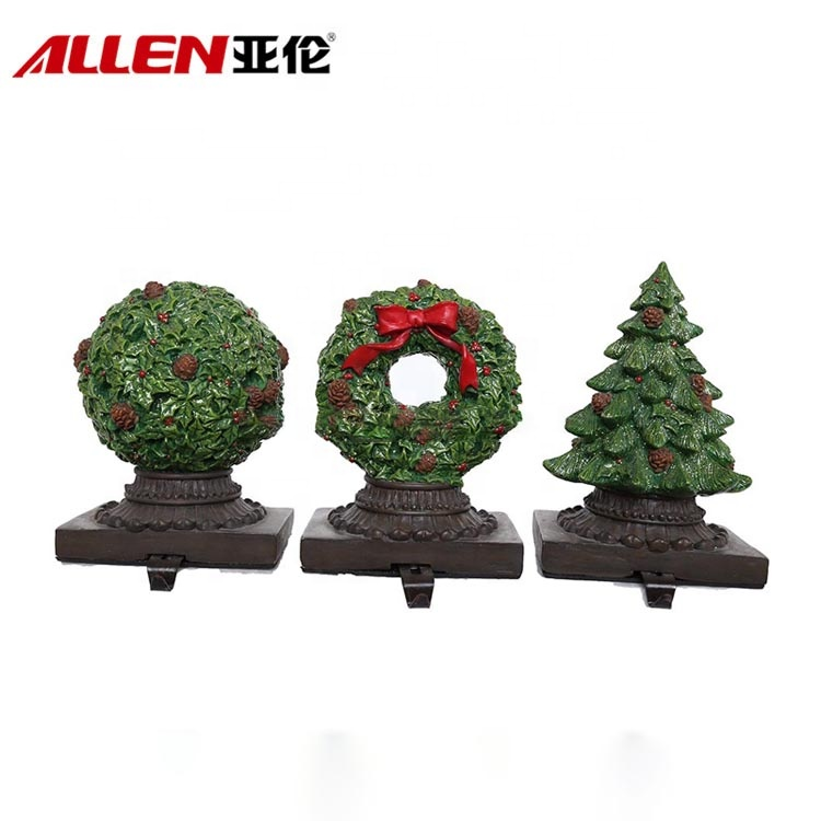Creative Christmas Tree Polyresin Stocking Holder