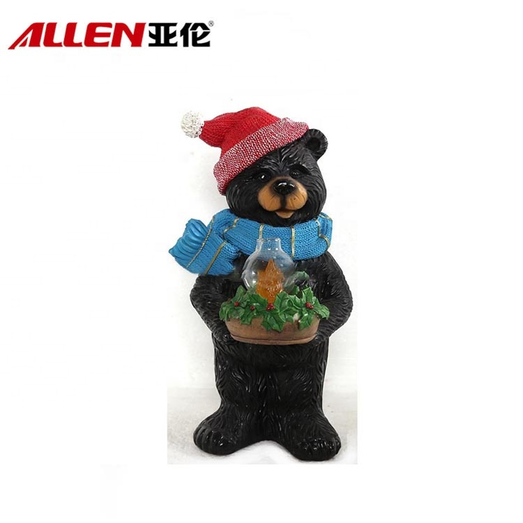 Handmade Christmas Resin Black Bear Figurines Witl Led