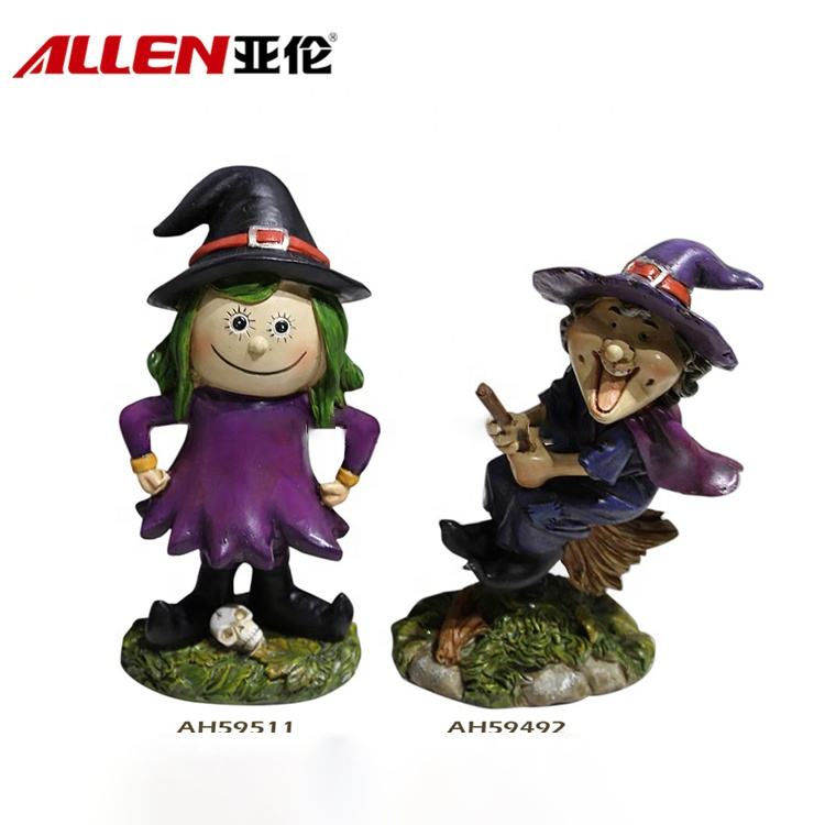 Halloween hiasan buatan tangan Resin Witch Figurines