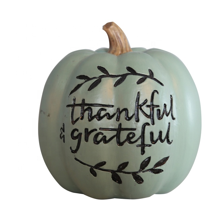 Resin Thanksgiving Green Pumpkin Figurine With Letter
