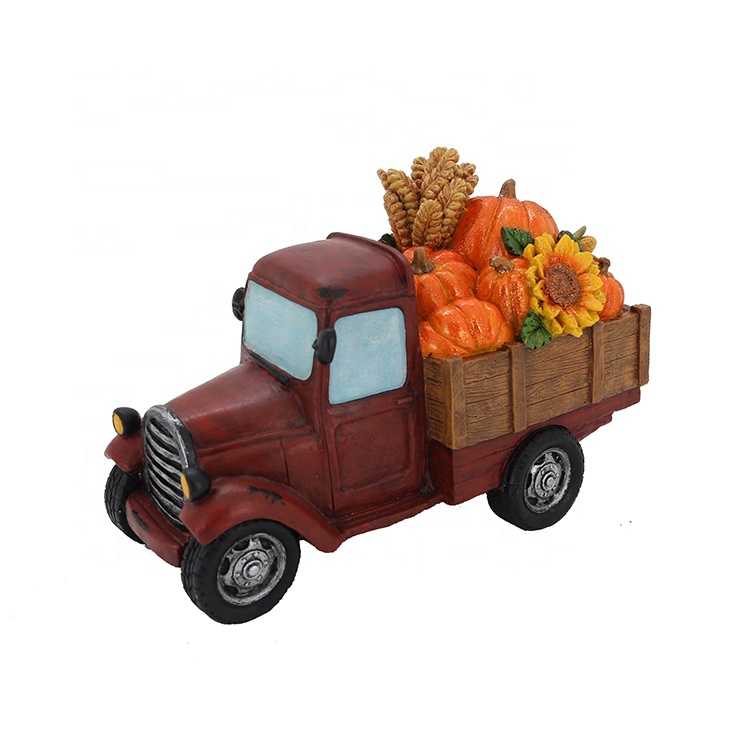 Thanksgiving Resin Farm Truck Carrying Vegetable