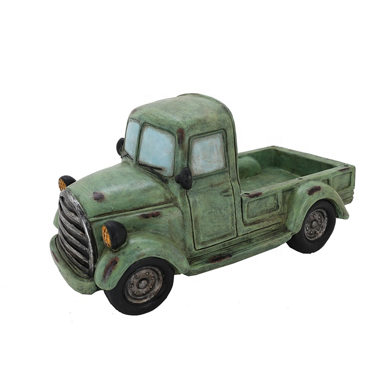 Home Decor Thanksgiving Green Resin Truck Statue