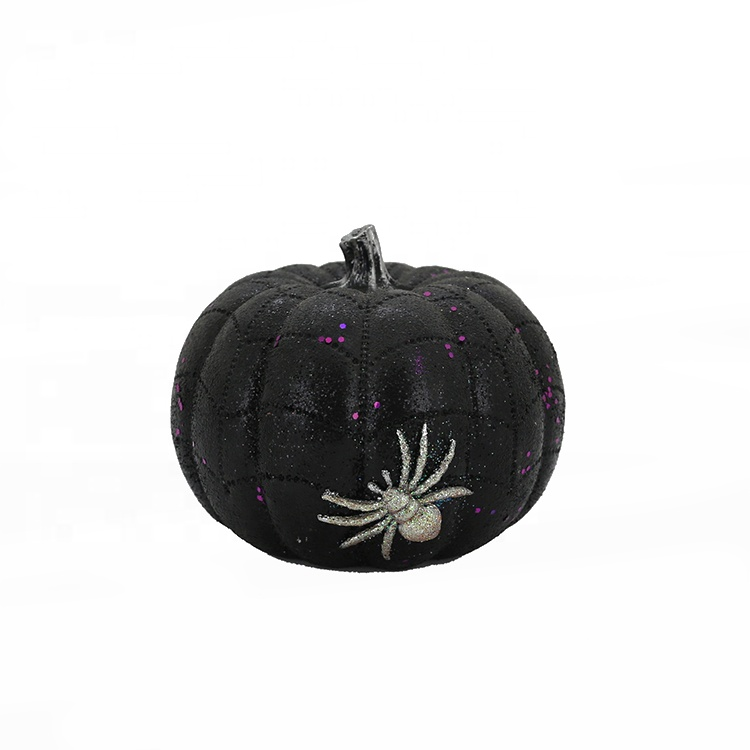 Resin Halloween Pumpkin With Spider Decor