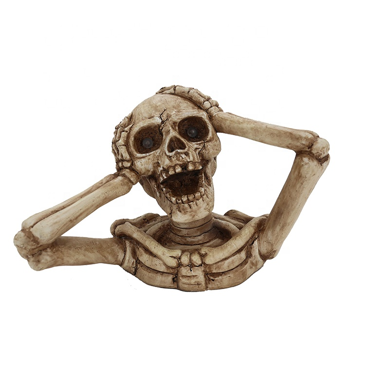 Resin Roaring Skeleton Statue Halloween Decor