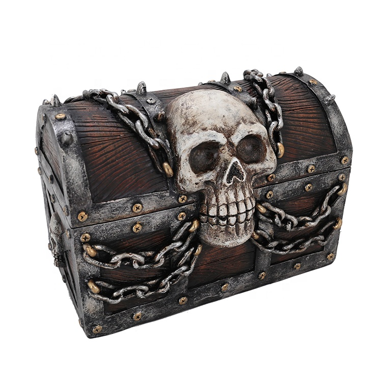 Halloween MGO In reliëf Skull Box Met IJzeren Chain
