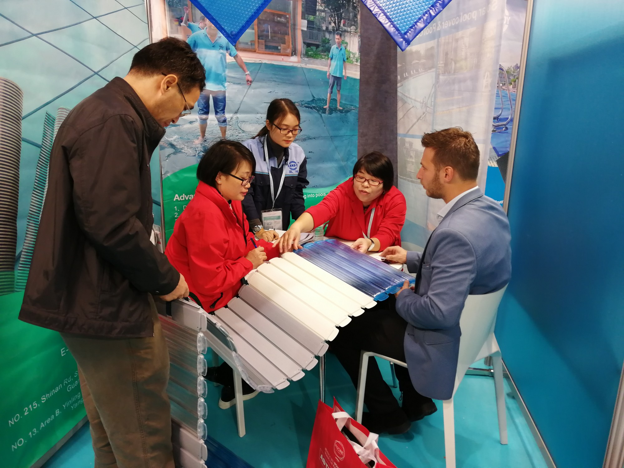 LANDY L'Audi attends the 2019 Pool Spa Expo