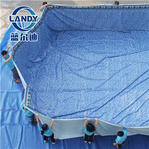 Fodera per piscina ovale sovrapposta per pad per spruzzi di superficie per piscina in PVC