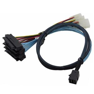 Mini SAS SFF-8643 to (4) 29pin Internal SFF-8482 connectors with SATA Power