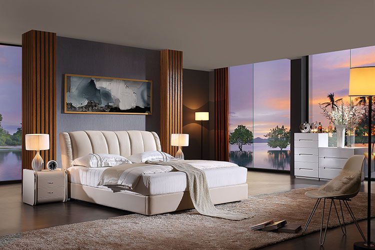 rice white leather beds