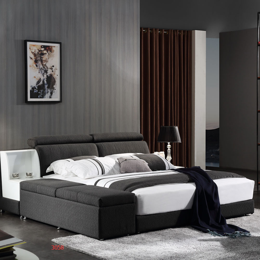 3058 Bedroom Bed Modern King Size Storage Beds Fabric Soft Beds
