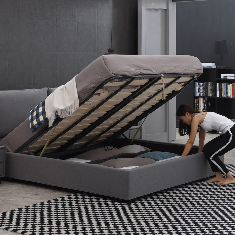 fabric queen size bed