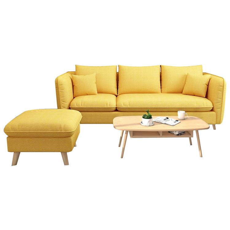 贅沢な居間の家具のソファーは黄色い生地の布の部門別のソファーを置きます