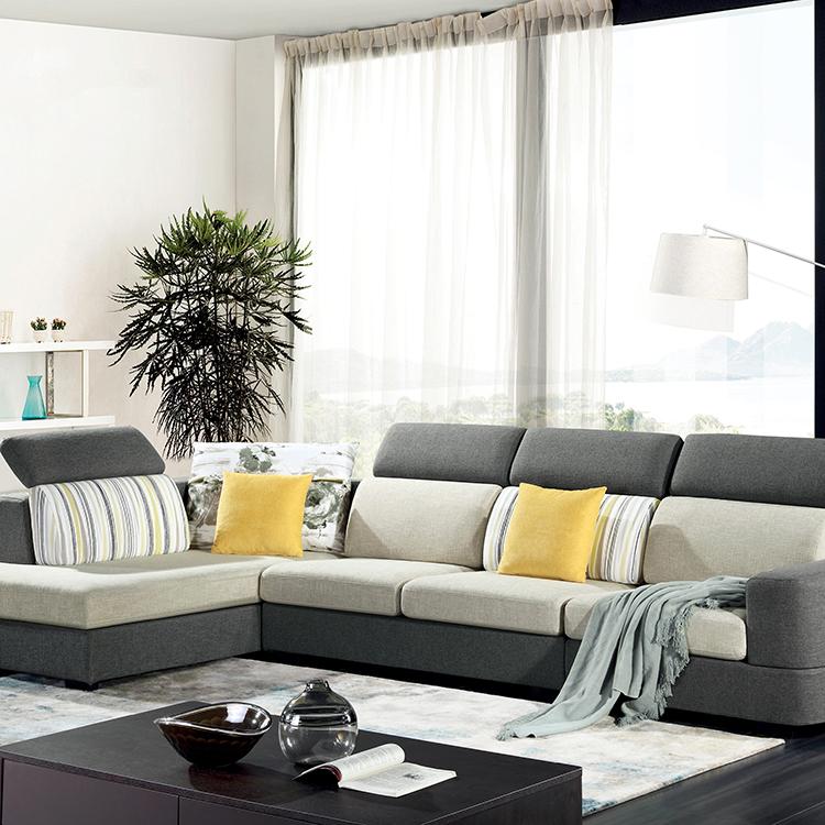 American Style Tela Sofa L Hugis Sofa Corner Sofa Para sa Living Room