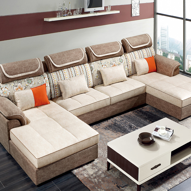 Luxury Furniture U Shaped Corner Sofas Set Fabric Modern Sofa