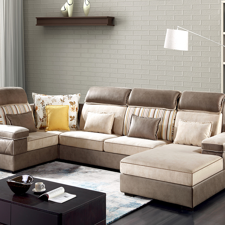 Bagong Disenyo ng Sofa Cloth Living Room U Shape Corner na Tela ng Sofa