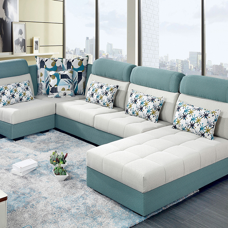 American Style Corner Sofa Fabric Modern Living Room L Shape Sofa