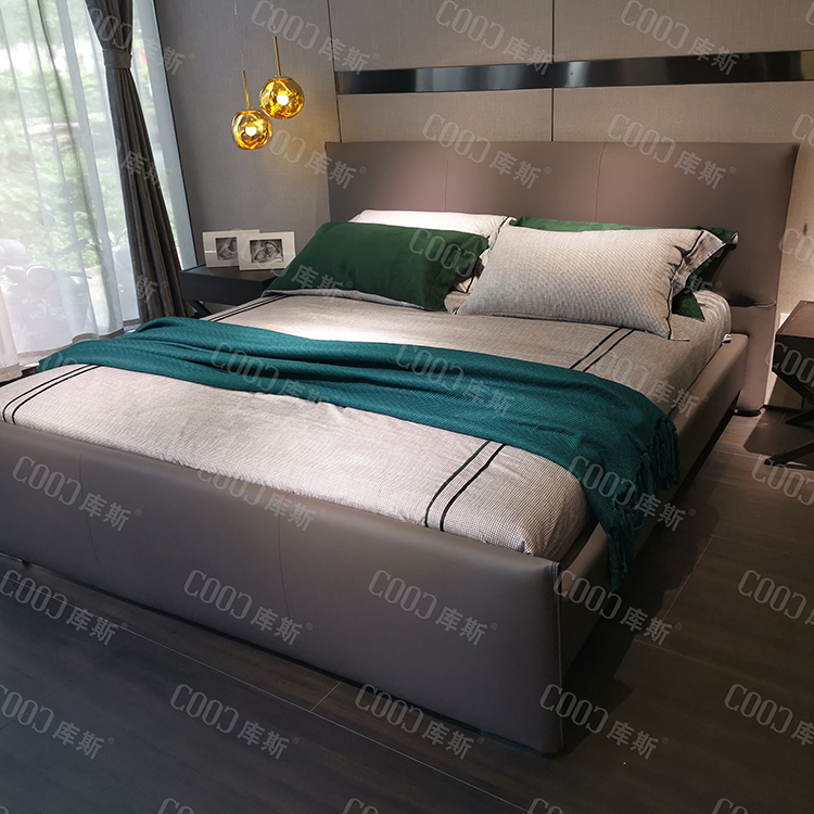 1902 New Design Bedroom Double Bed King Size Bed Modern Leather Beds