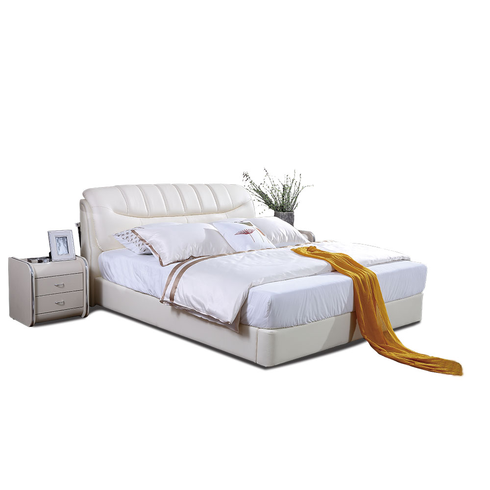 2231A White Double Genuine Leather Hotel King Size Beds With Storage