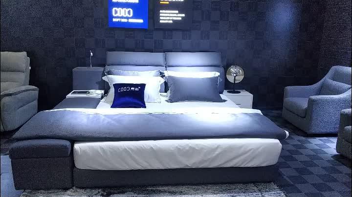 3150 ง่าย กรอบไม้เตียงขนาดคิงไซส์เตียงผ้าหรูหราเตียงเสื่อทาทามิ