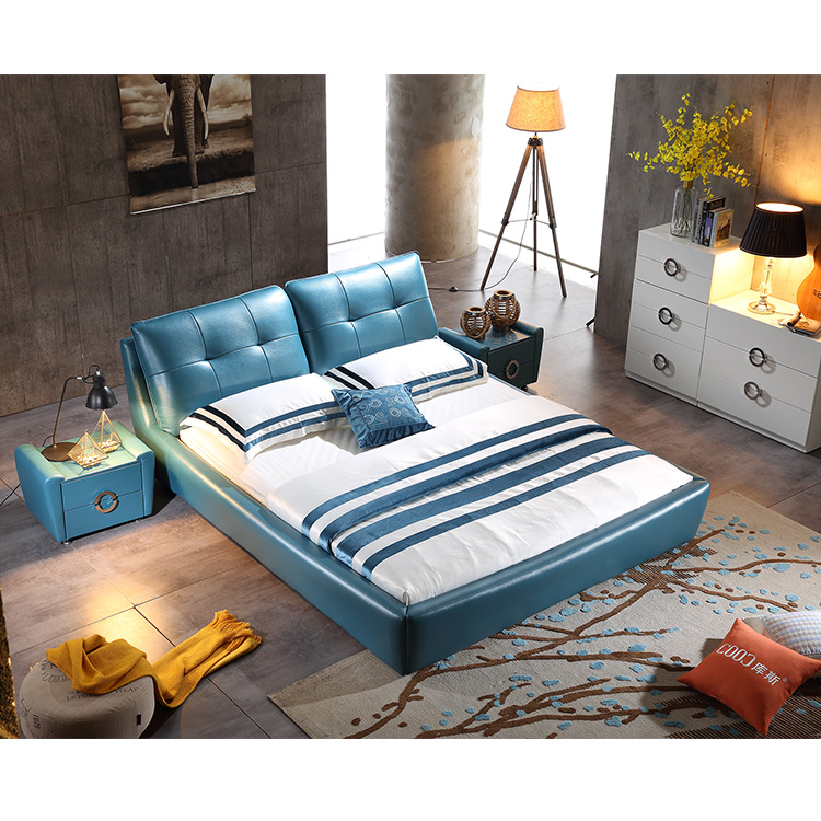 2342 Star Style Designs For Bedroom Furniture Leather Soft Bed King Size Bed