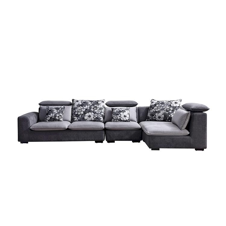 8090 Fashion Home Furniture Corner Fabric Couch Living Room Sofa Set Designs