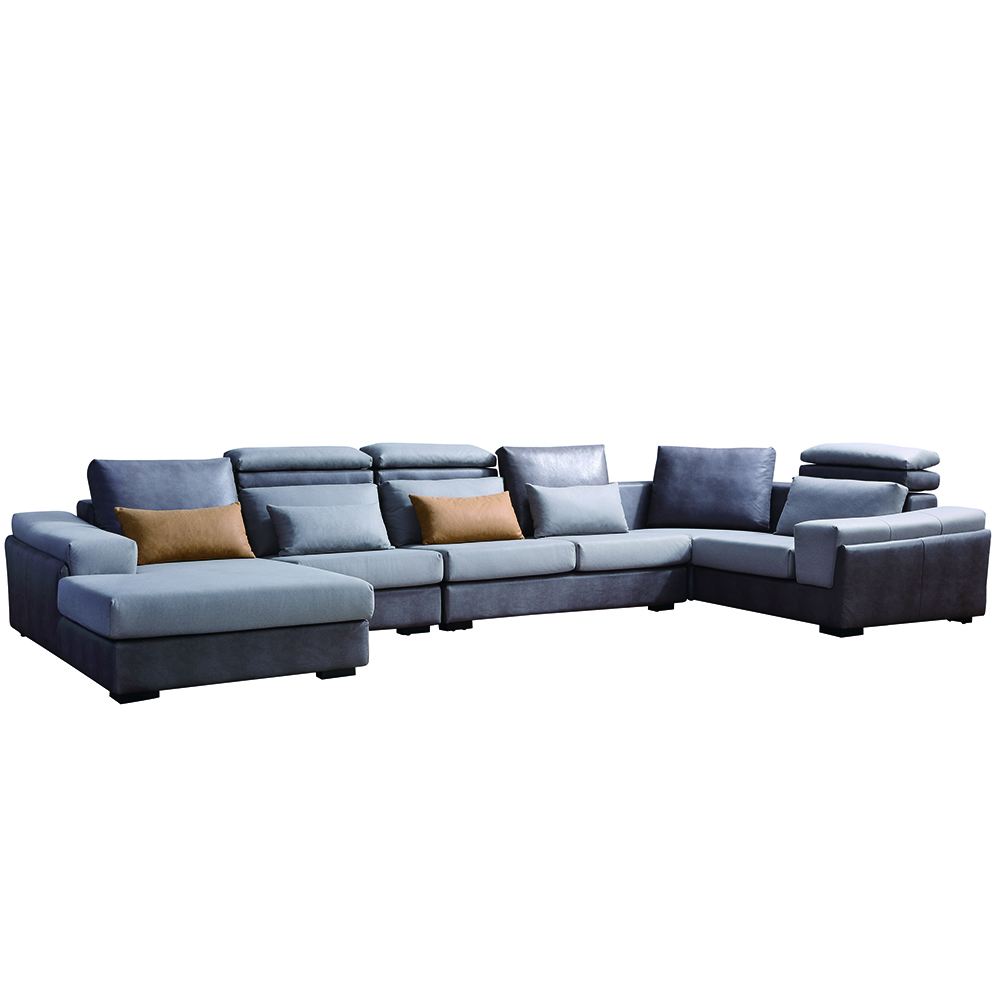 8058 Breathable Leather Sofa Set 7 Seater Leather U Shape Sofa Living Room Sofa