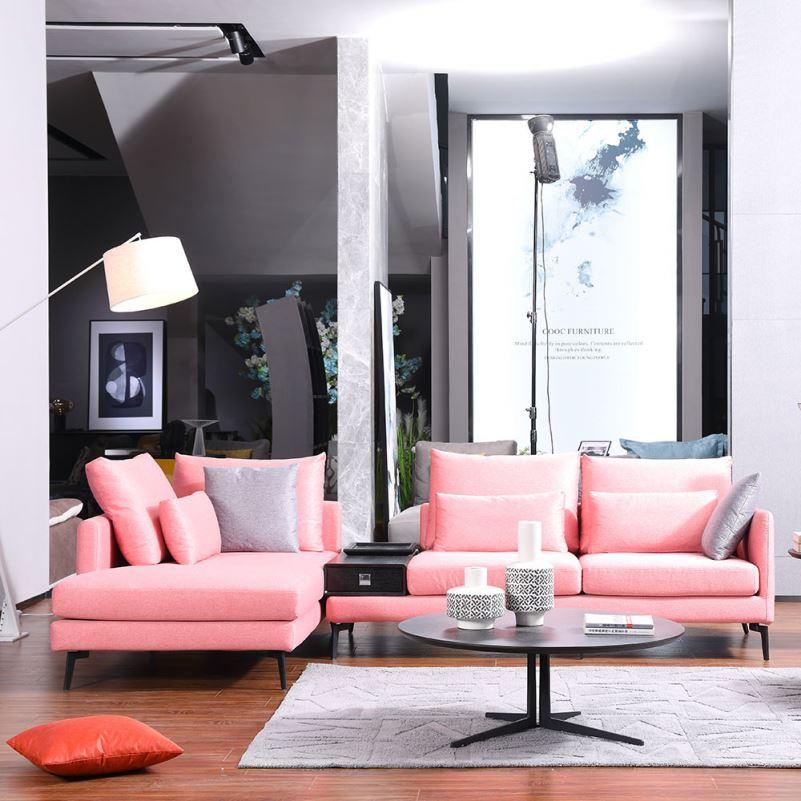 Modern Soft Fabric Sofas Pink Sofa