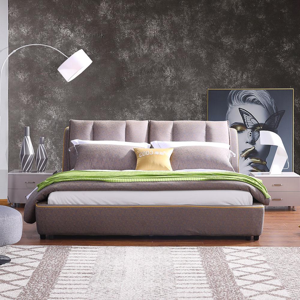 3122 เตียงผ้าเฟอร์นิเจอร์ห้องนอนเตียงคิงไซส์ที่ทันสมัย