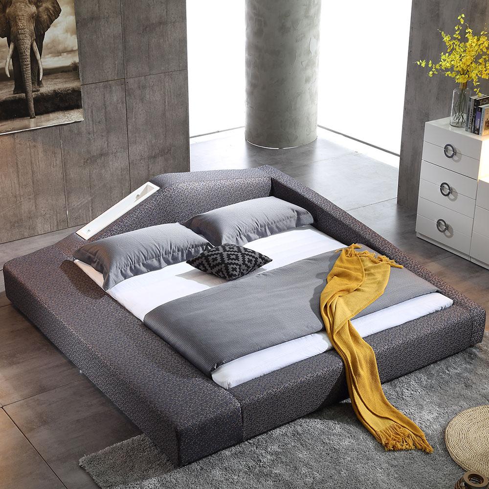3076 เตียงคิงไซส์กรอบไม้เนื้อแข็งเตียงนุ่มผ้า