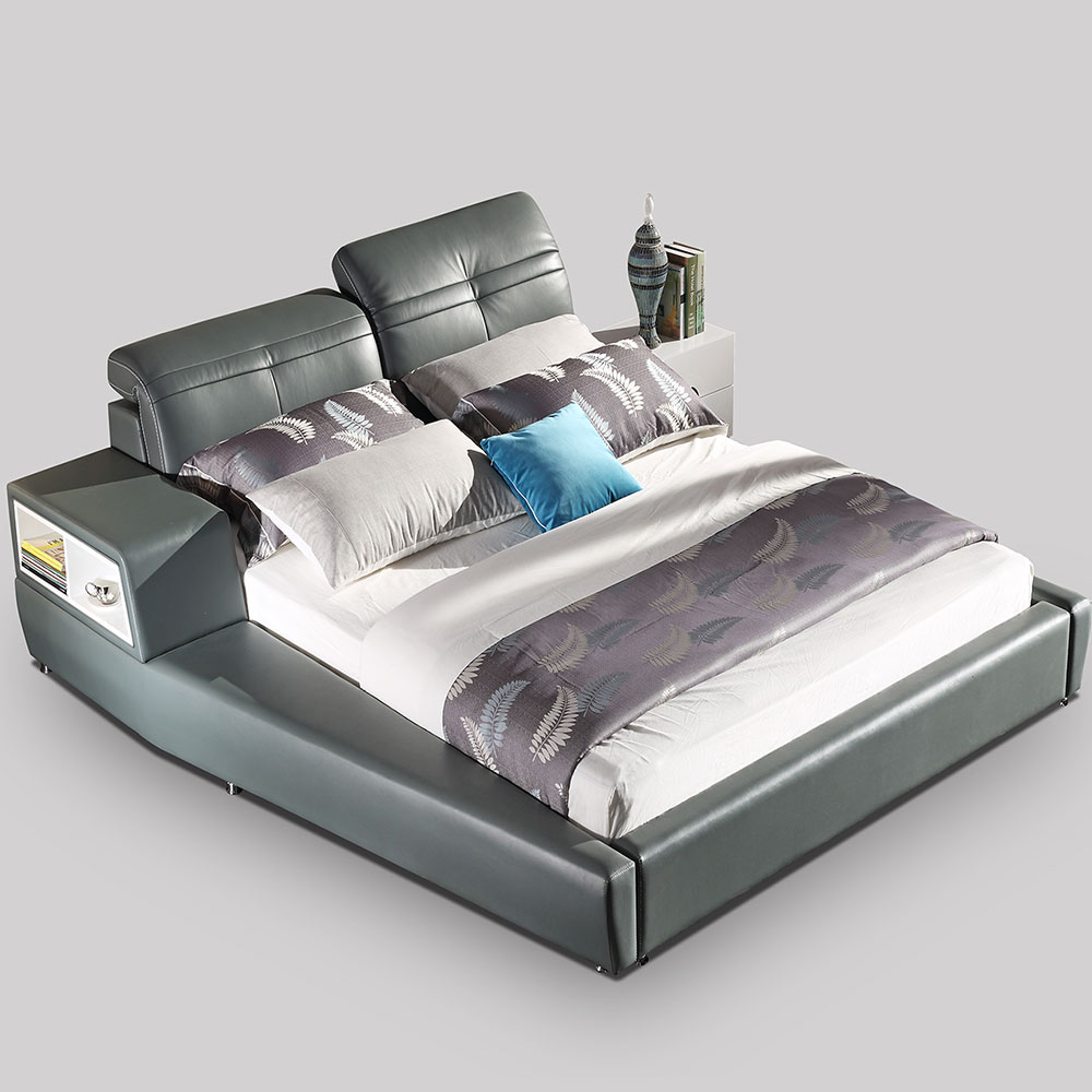2386 Leather Modern Soft Bed King Size Bed With Storage