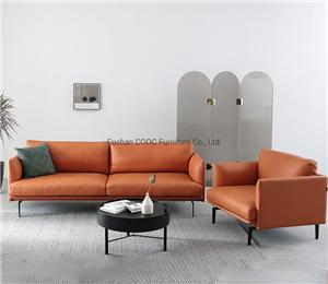 YK-1002 Modern Furniture Orange Leisure Leather Sofa