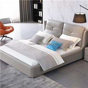 KS2390 Modern Bedroom Living Room Furniture King Size Grey Leather Bed