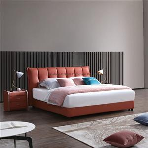 KS2535 Modern Minimalist Bedroom Leather Furniture Orange King Bed