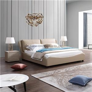 KS2530 King Bed Modern Bedroom Furniture Elegant Style Leather Beds