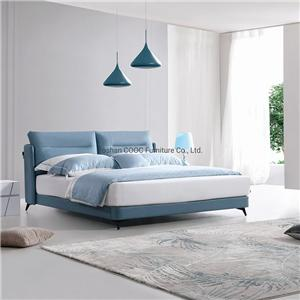 KS2563 Modern Home Bedroom Furniture Set Queen Size Blue Leather Bed