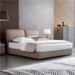 KS2578 Modern Bedroom Furniture Deep Soft High Quality Leather King Bed