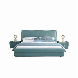 KS2582 Designer Modern Bedroom Furniture Unique Bright Green Leather King Bed