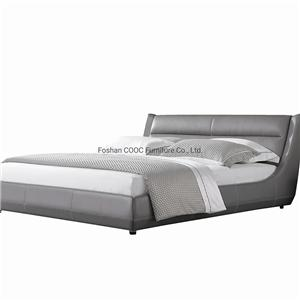 KS2592 European Style Bedroom Furniture Modern Grey Leather King Bed