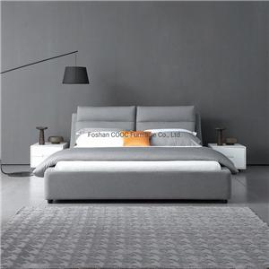 KS3115B Chinese Modern Bedroom Furniture Minimalist Style Grey Fabric Bed