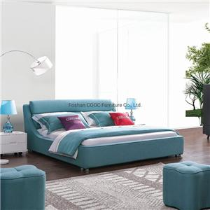 KS3082 The Latest Furniture Modern Designer Blue Fabric Double King Size Bed